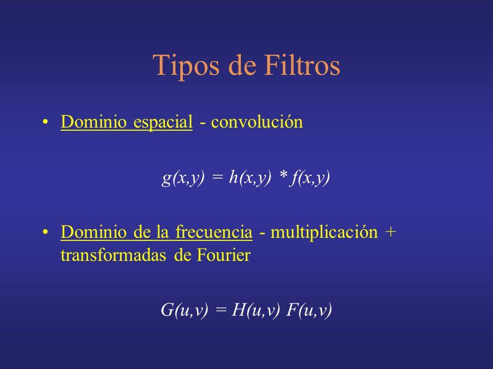 Tipos de Filtros Dominio espacial - convolución
