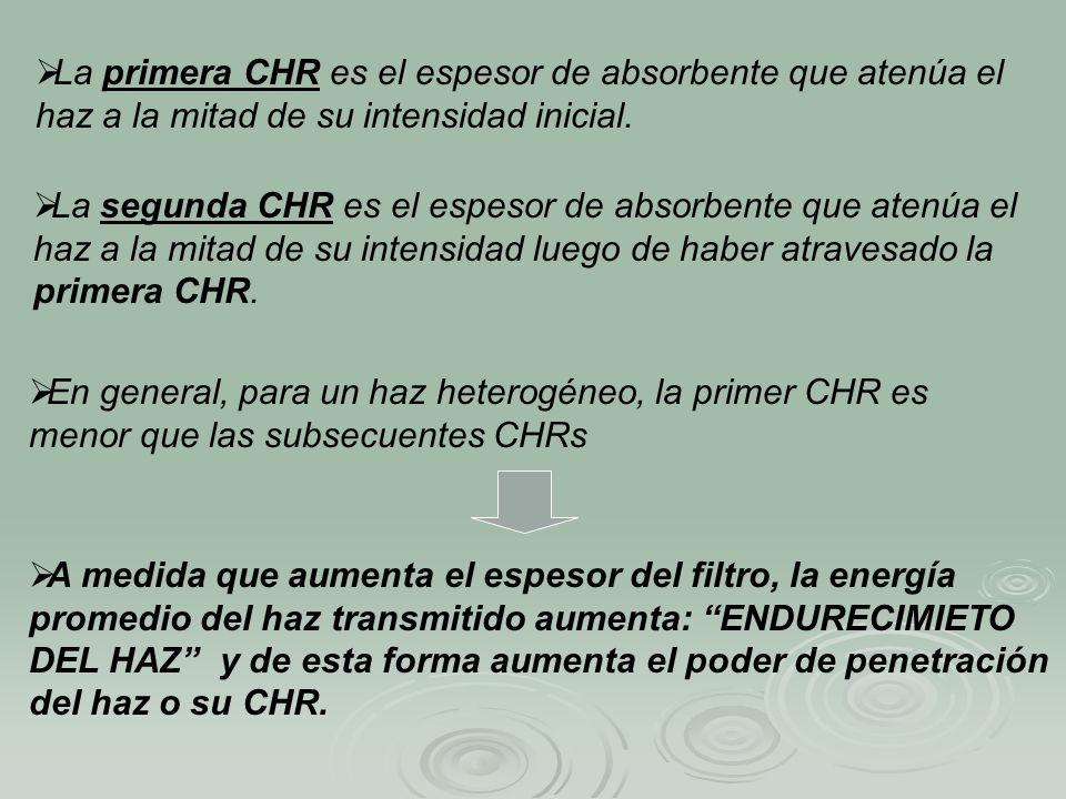 La primera CHR es el espesor de absorbente que atenúa el haz a la mitad de su intensidad inicial.