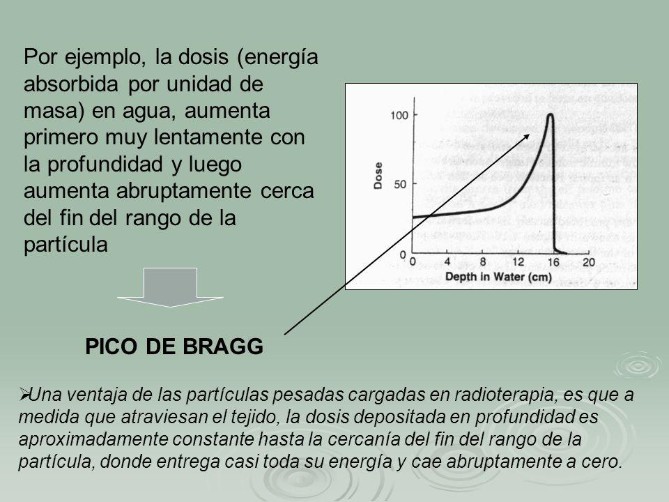 Por ejemplo, la dosis (energía absorbida por unidad de masa) en agua, aumenta primero muy lentamente con la profundidad y luego aumenta abruptamente cerca del fin del rango de la partícula