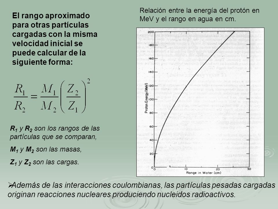 Relación entre la energía del protón en MeV y el rango en agua en cm.