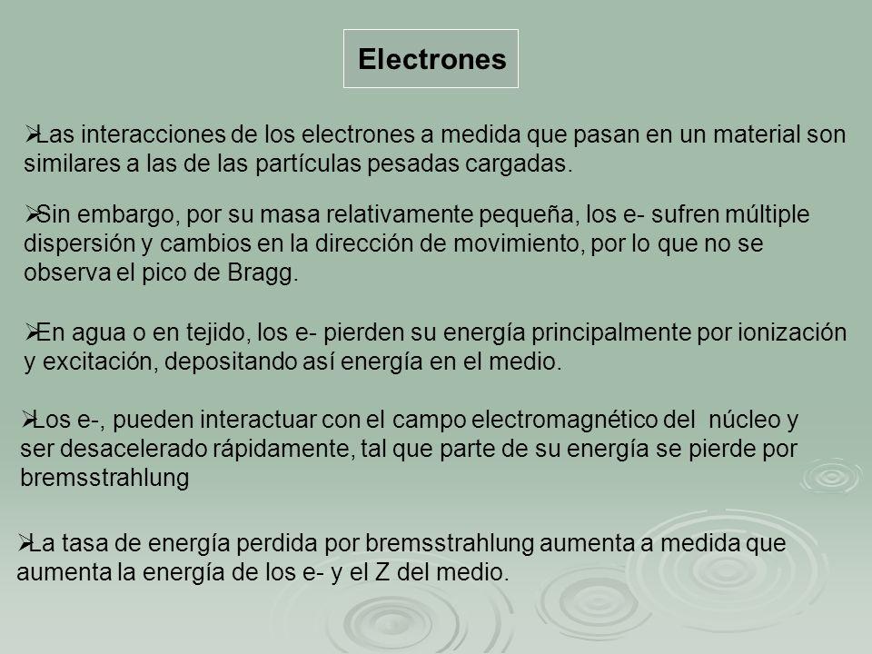 Electrones Las interacciones de los electrones a medida que pasan en un material son similares a las de las partículas pesadas cargadas.