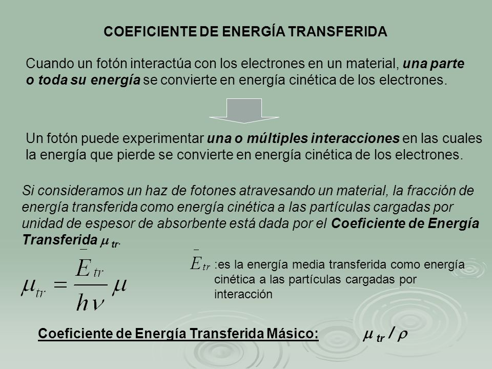 COEFICIENTE DE ENERGÍA TRANSFERIDA
