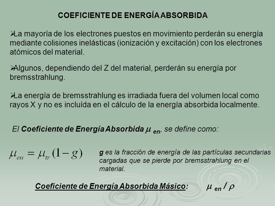 COEFICIENTE DE ENERGÍA ABSORBIDA