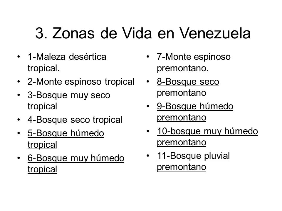 3. Zonas de Vida en Venezuela