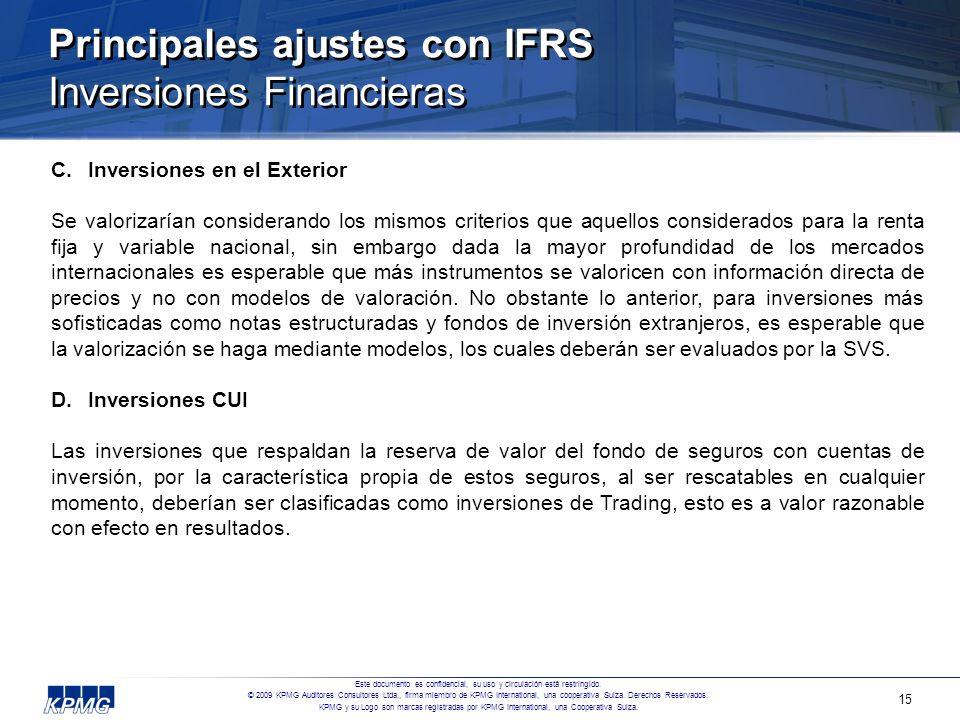 Principales ajustes con IFRS Inversiones Financieras