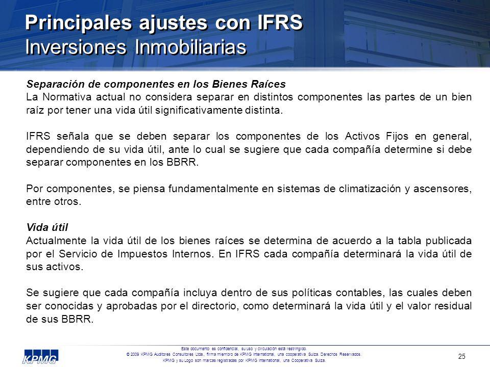 Principales ajustes con IFRS Inversiones Inmobiliarias