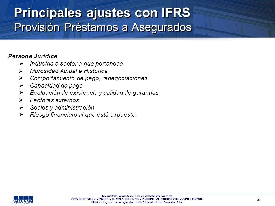 Principales ajustes con IFRS Provisión Préstamos a Asegurados