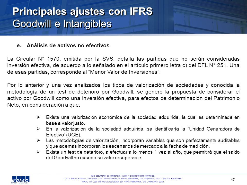 Principales ajustes con IFRS Goodwill e Intangibles