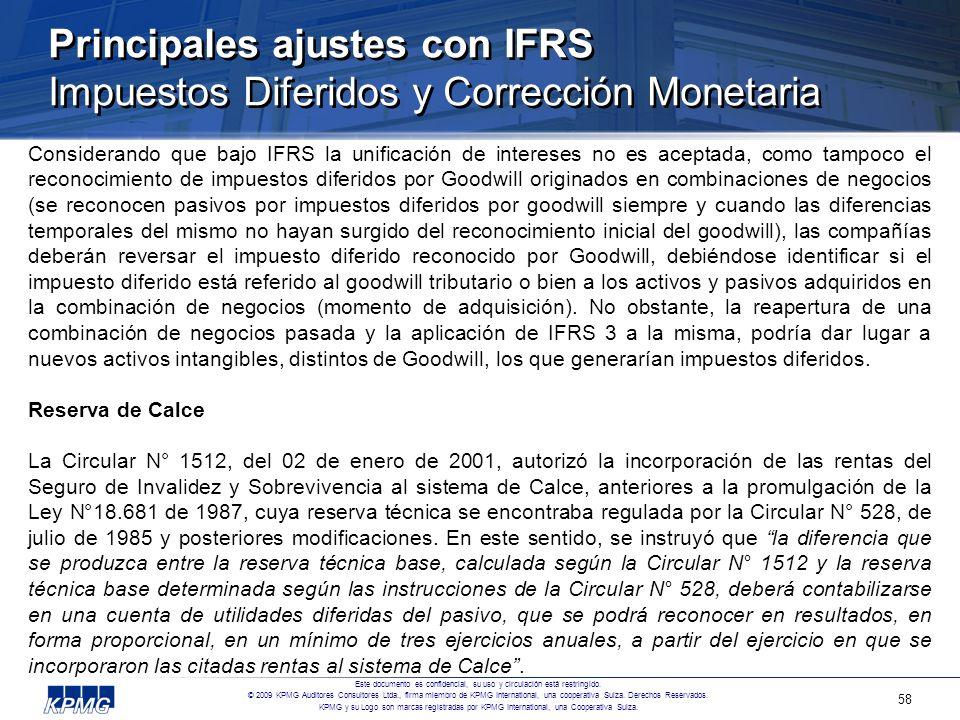 Principales ajustes con IFRS Impuestos Diferidos y Corrección Monetaria