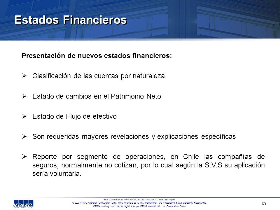 Estados Financieros Presentación de nuevos estados financieros: