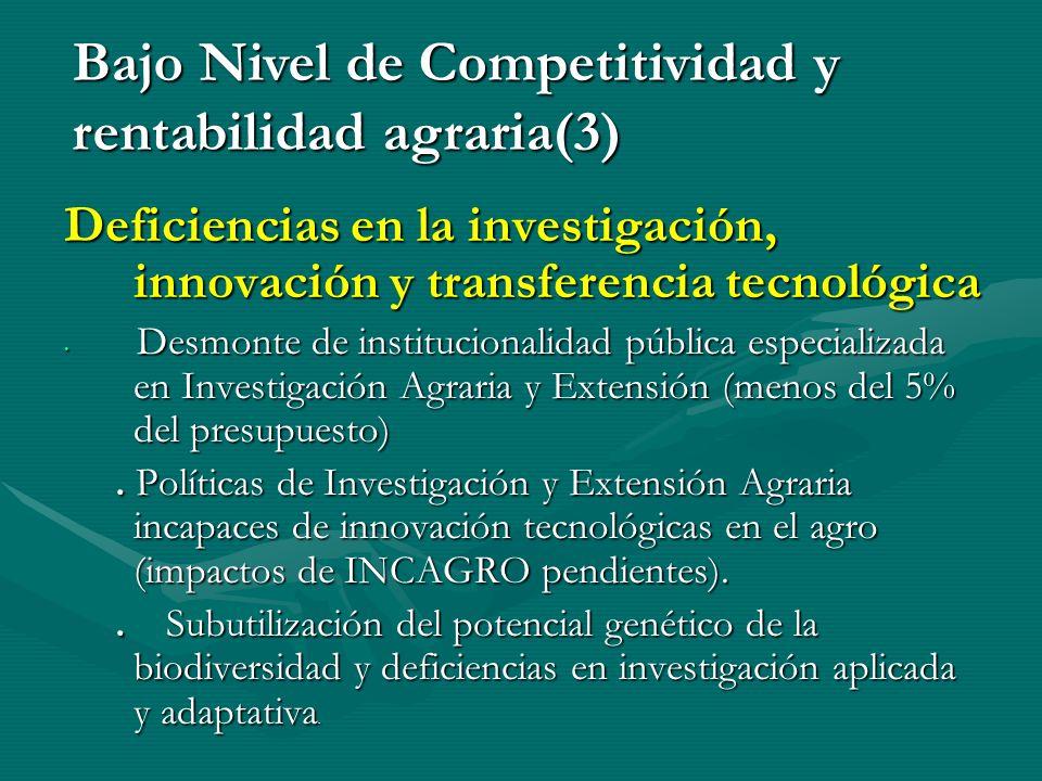 Bajo Nivel de Competitividad y rentabilidad agraria(3)