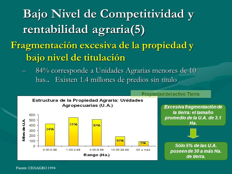 Bajo Nivel de Competitividad y rentabilidad agraria(5)