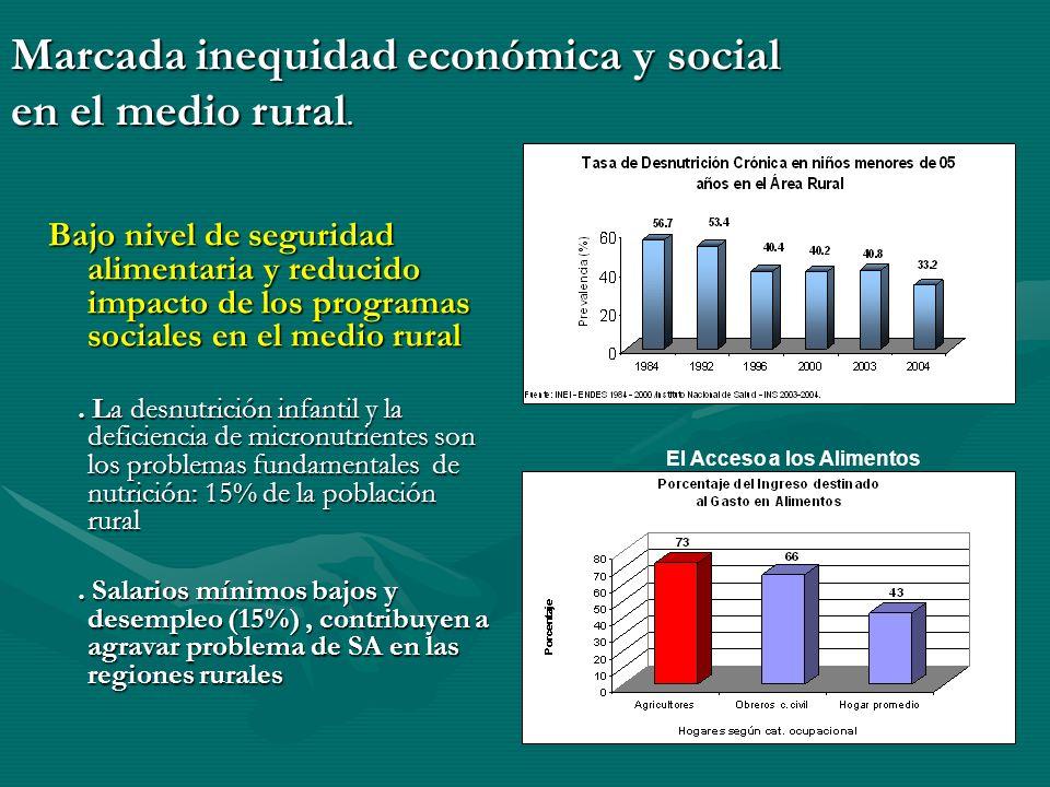 Marcada inequidad económica y social en el medio rural.