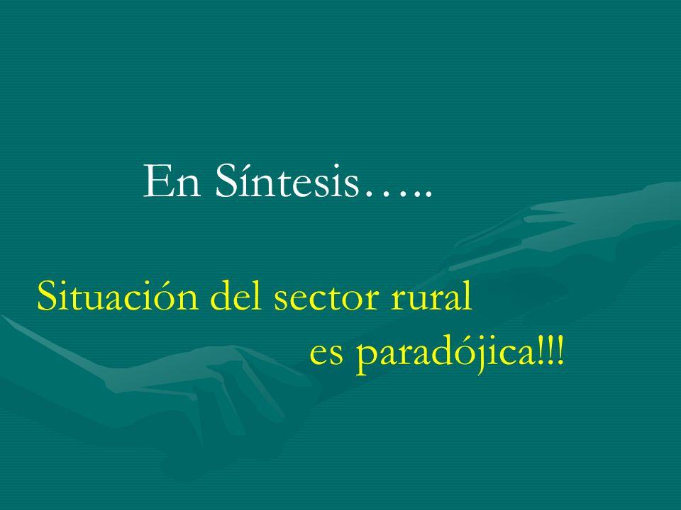 En Síntesis….. Situación del sector rural es paradójica!!!