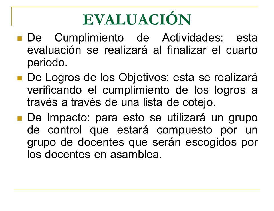 EVALUACIÓNDe Cumplimiento de Actividades: esta evaluación se realizará al finalizar el cuarto periodo.