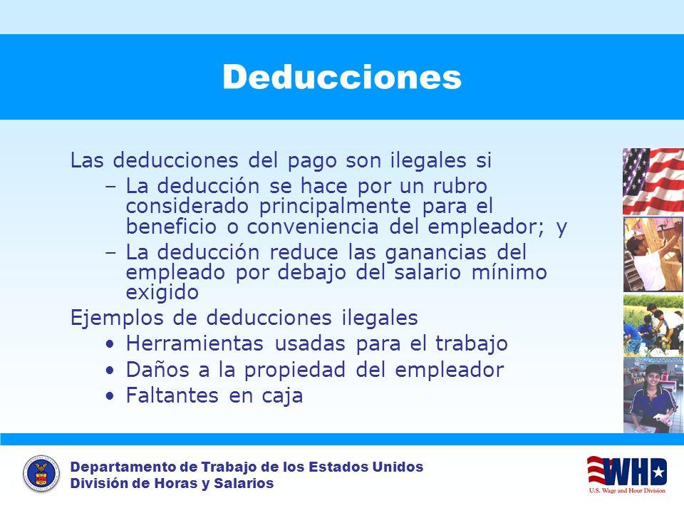 Deducciones Las deducciones del pago son ilegales si