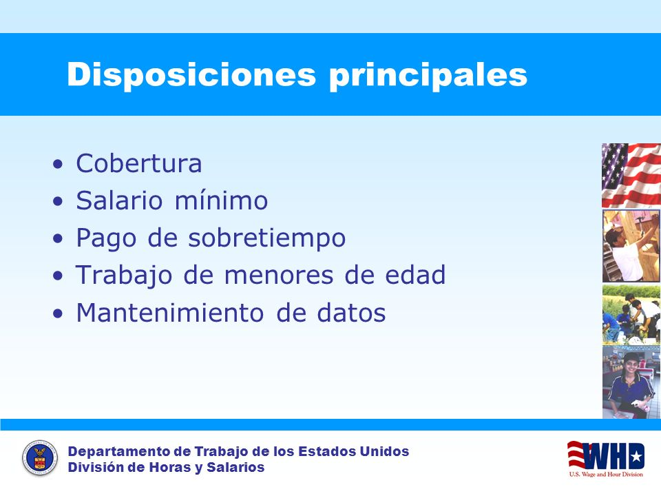 Disposiciones principales
