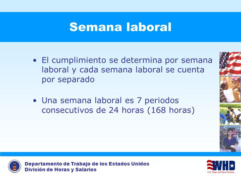 Semana laboral El cumplimiento se determina por semana laboral y cada semana laboral se cuenta por separado.