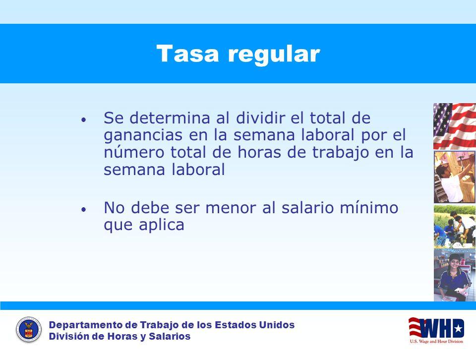 Tasa regular Se determina al dividir el total de ganancias en la semana laboral por el número total de horas de trabajo en la semana laboral.