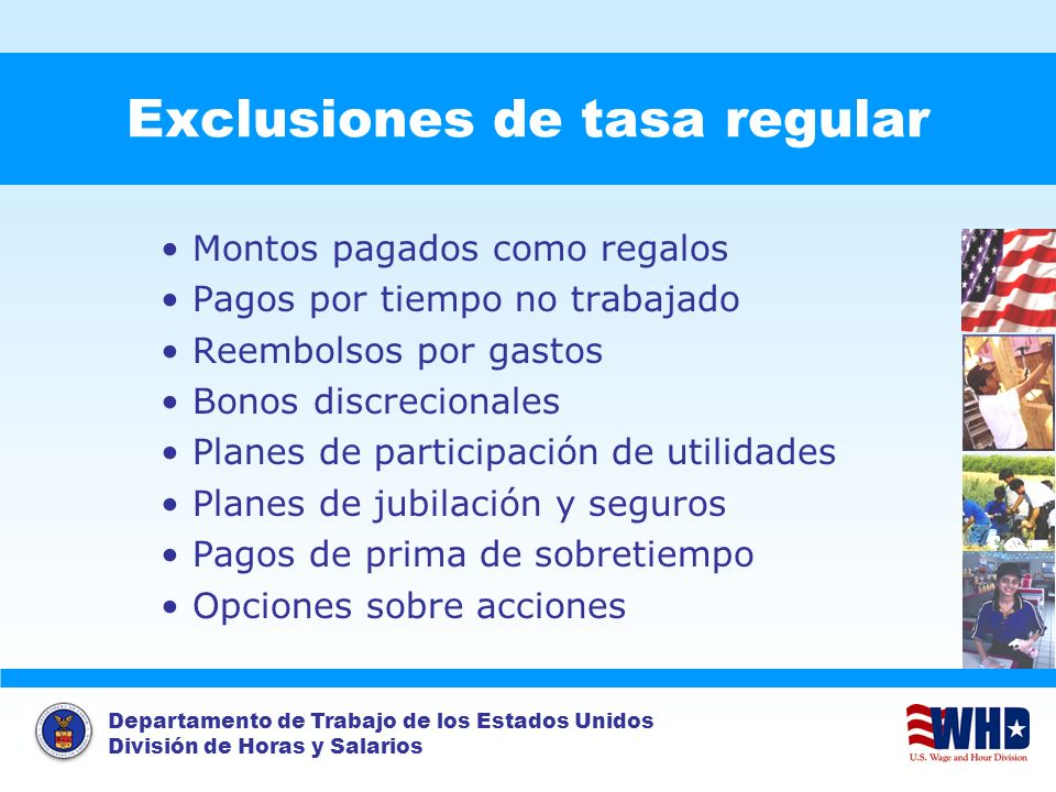 Exclusiones de tasa regular