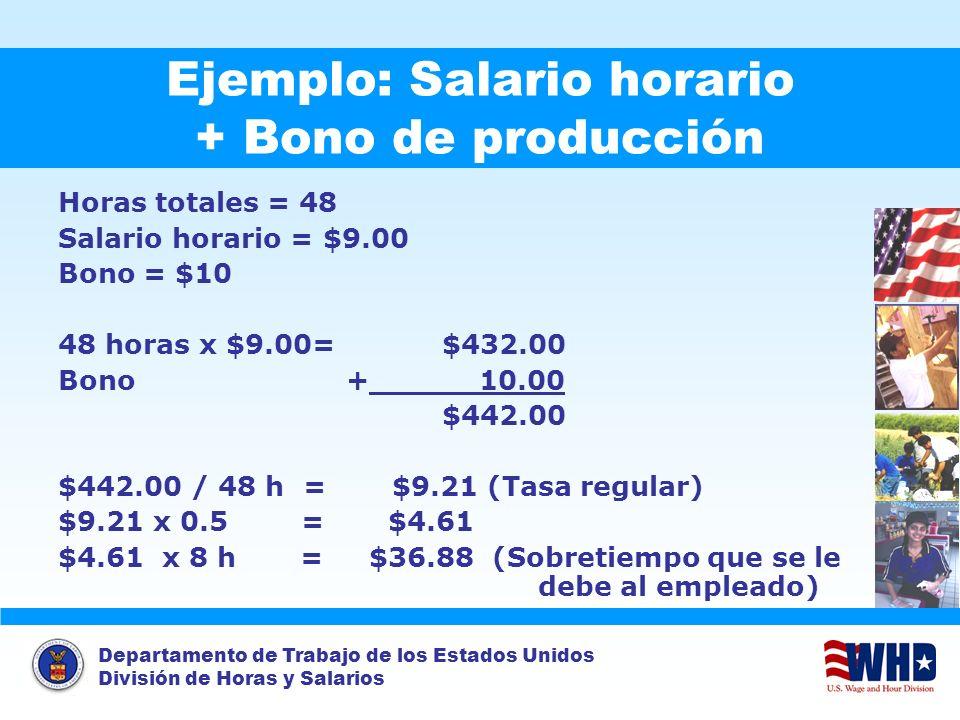 Ejemplo: Salario horario + Bono de producción