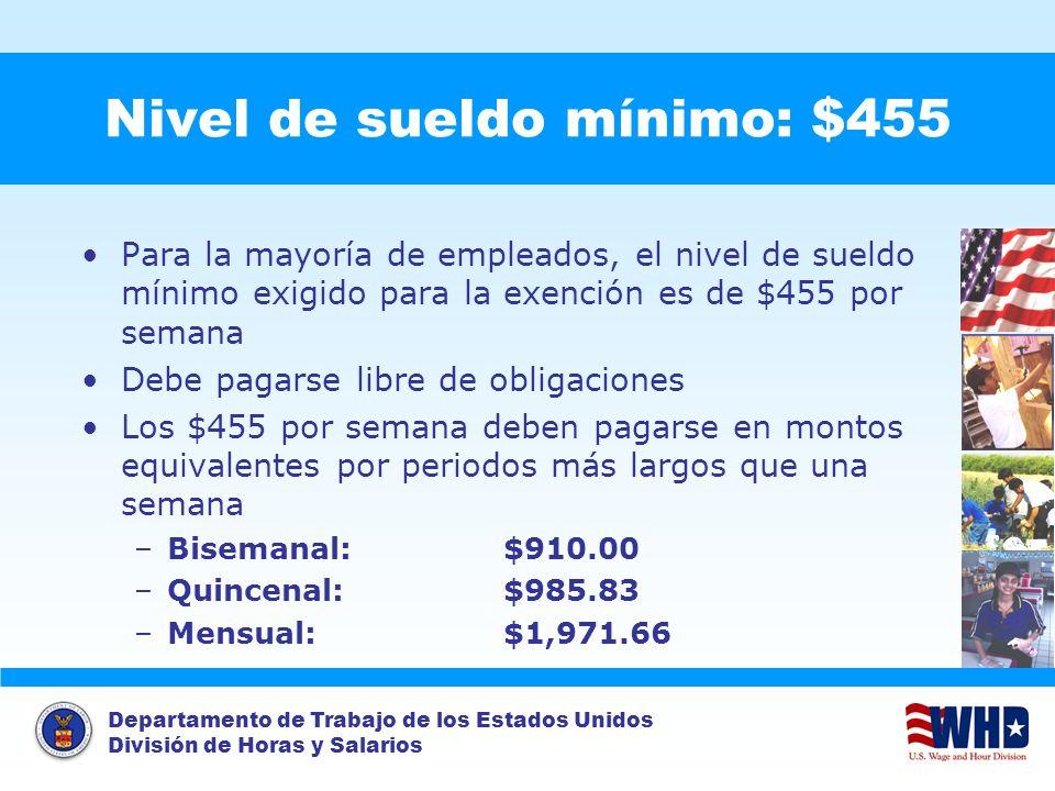 Nivel de sueldo mínimo: $455