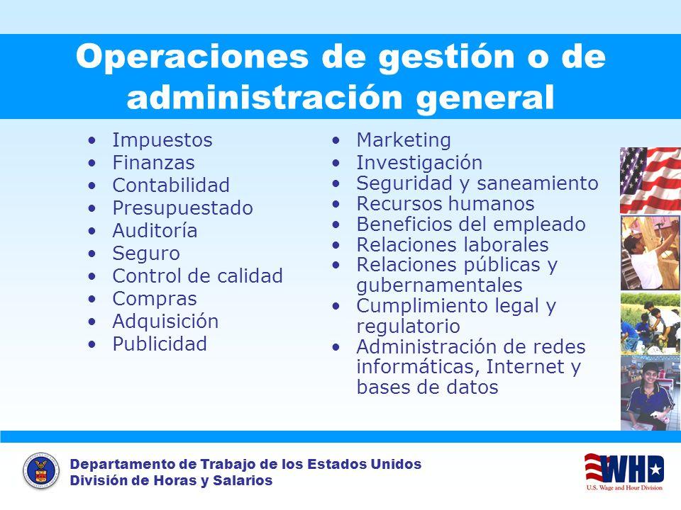 Operaciones de gestión o de administración general