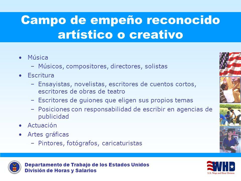 Campo de empeño reconocido artístico o creativo