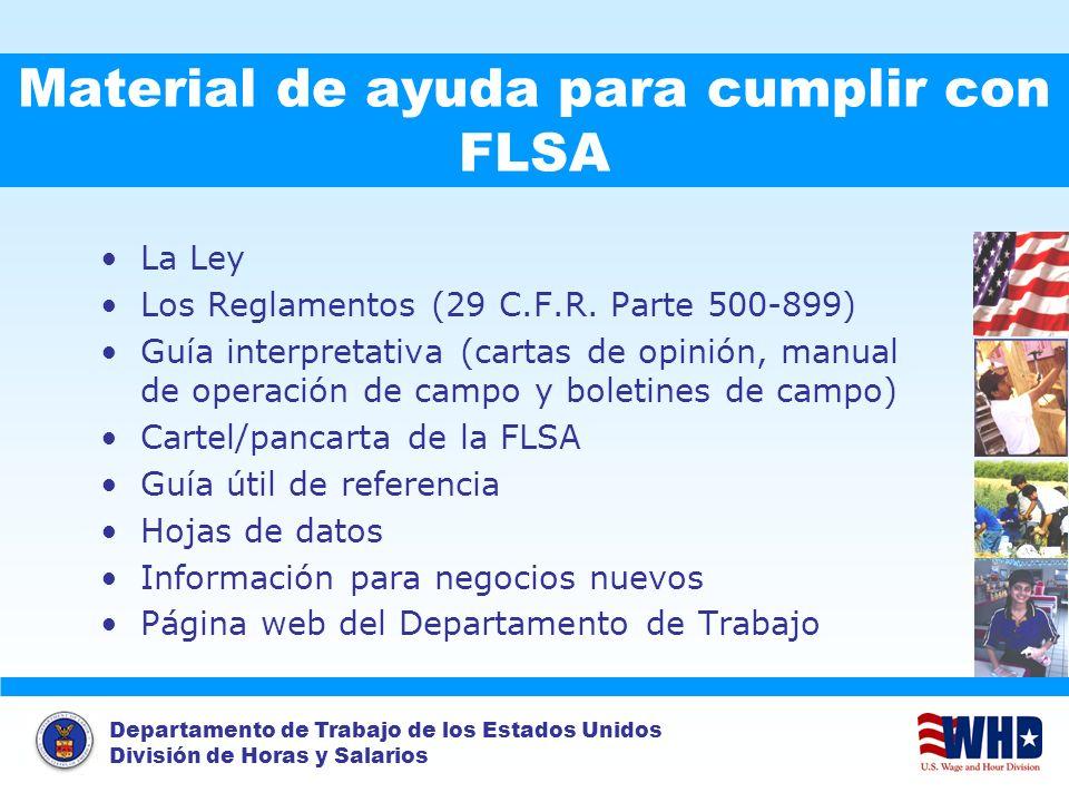 Material de ayuda para cumplir con FLSA