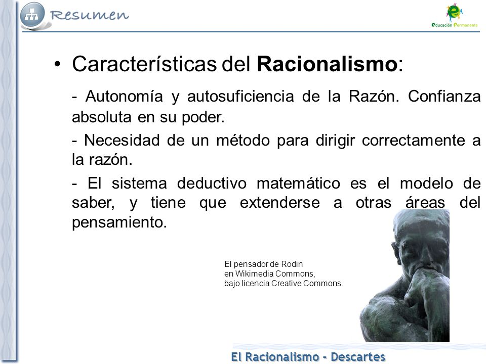 Características del Racionalismo: