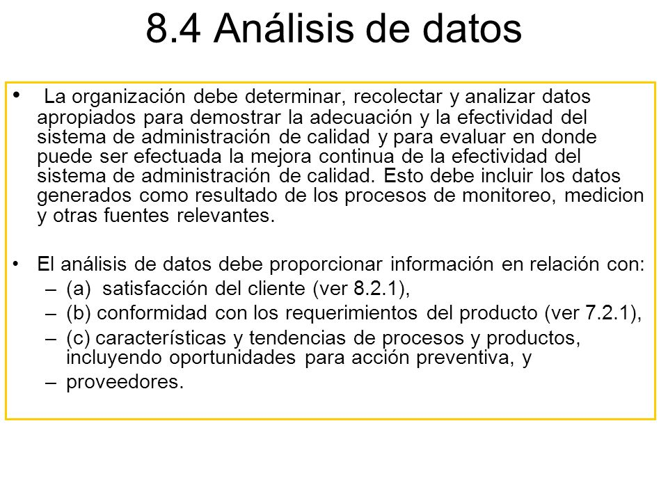 8.4 Análisis de datos