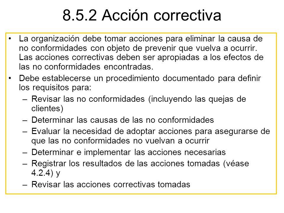 8.5.2 Acción correctiva