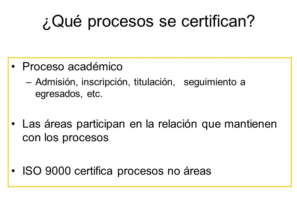 ¿Qué procesos se certifican