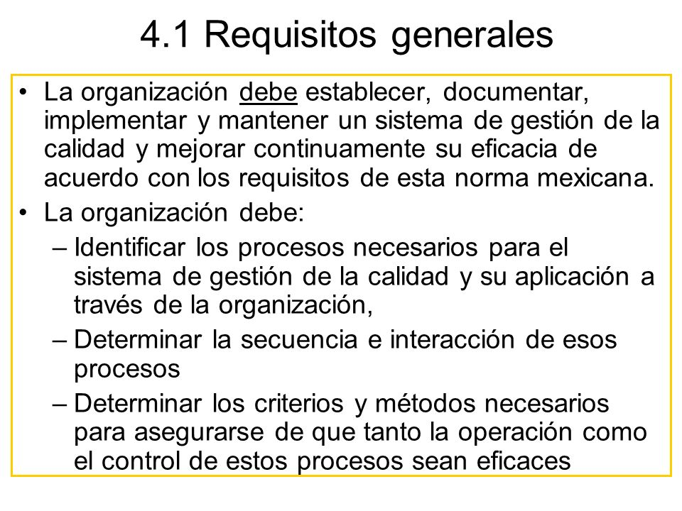4.1 Requisitos generales