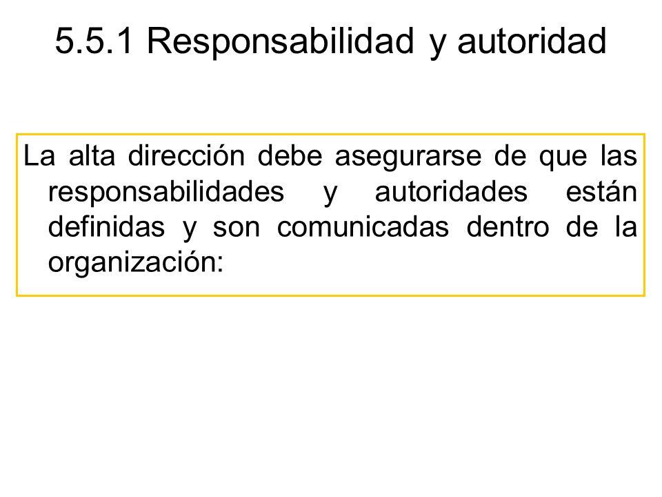 5.5.1 Responsabilidad y autoridad