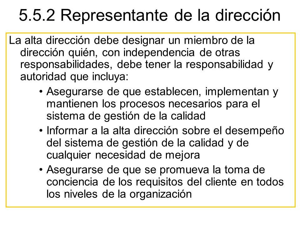 5.5.2 Representante de la dirección