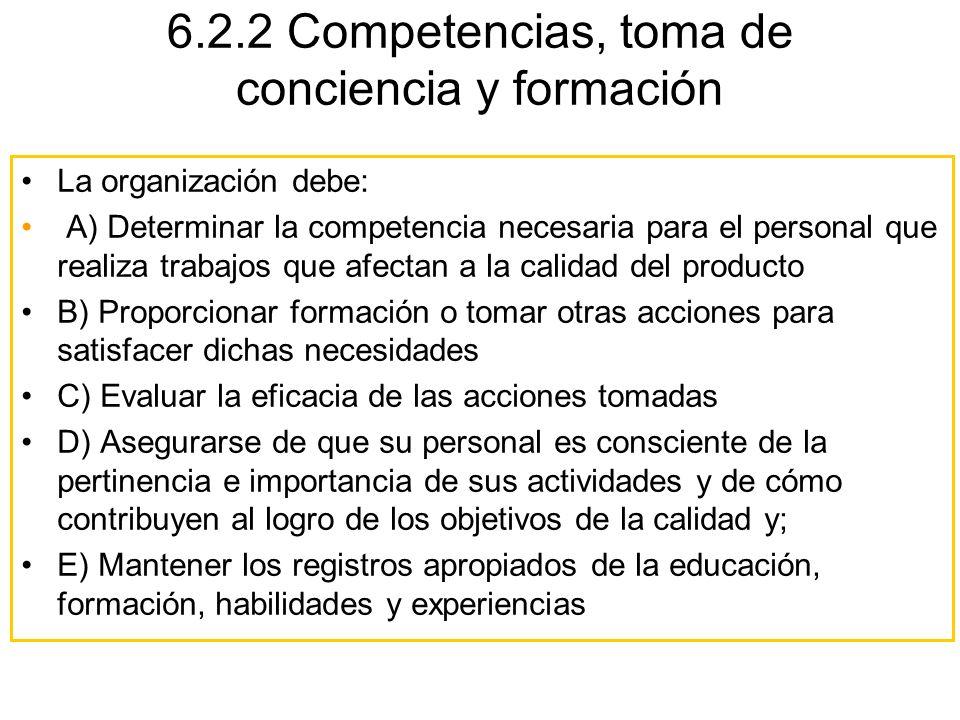 6.2.2 Competencias, toma de conciencia y formación