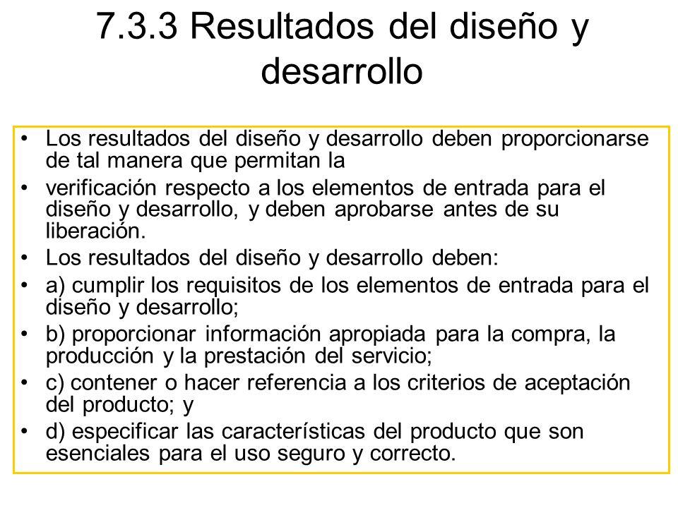 7.3.3 Resultados del diseño y desarrollo