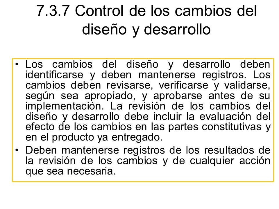 7.3.7 Control de los cambios del diseño y desarrollo