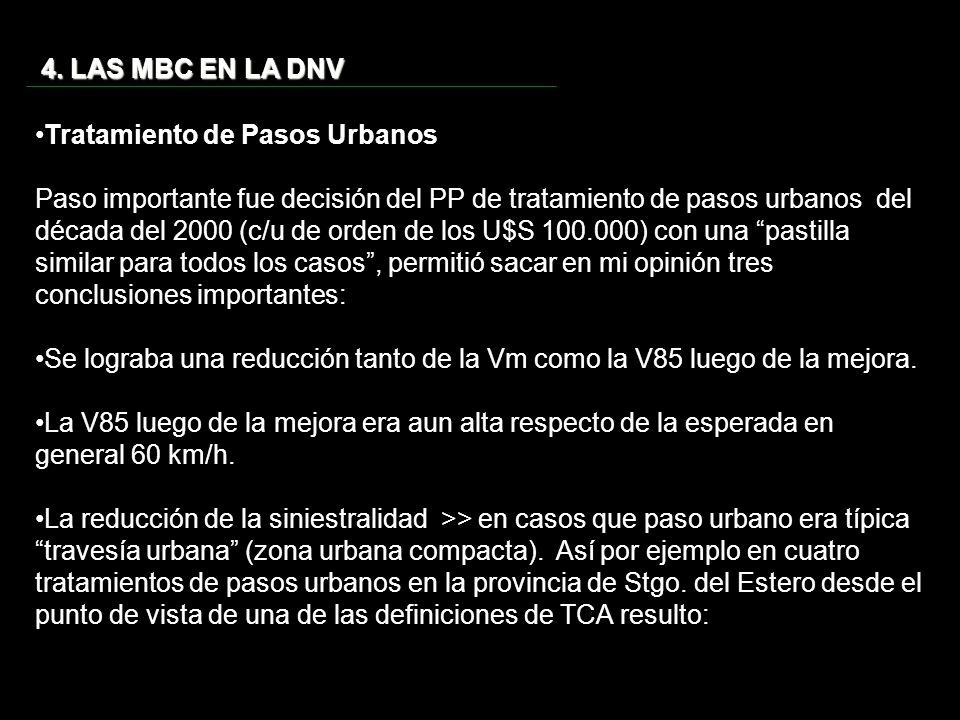 4. LAS MBC EN LA DNV Tratamiento de Pasos Urbanos.