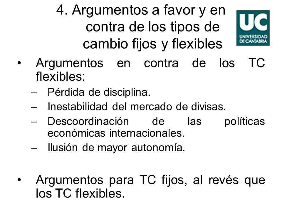 4. Argumentos a favor y en contra de los tipos de cambio fijos y flexibles