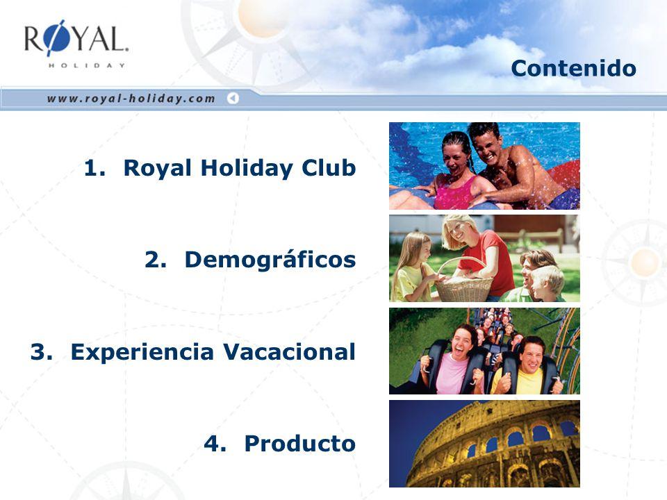 Contenido Royal Holiday Club Demográficos Experiencia Vacacional Producto