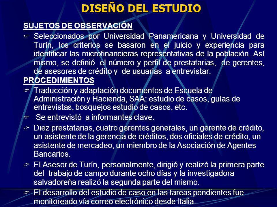 DISEÑO DEL ESTUDIO SUJETOS DE OBSERVACIÓN