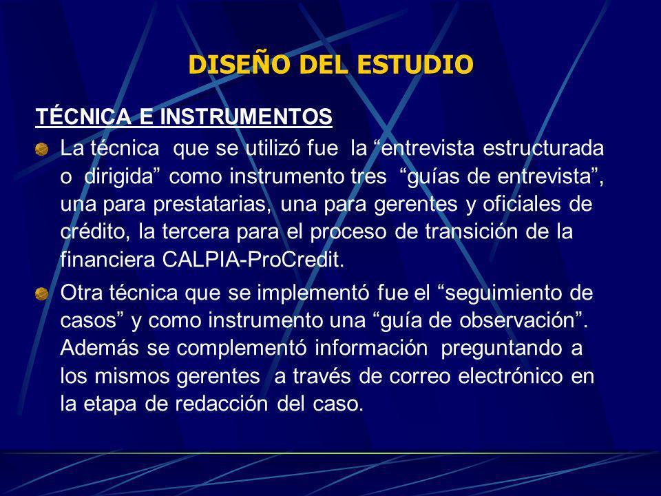 DISEÑO DEL ESTUDIO TÉCNICA E INSTRUMENTOS