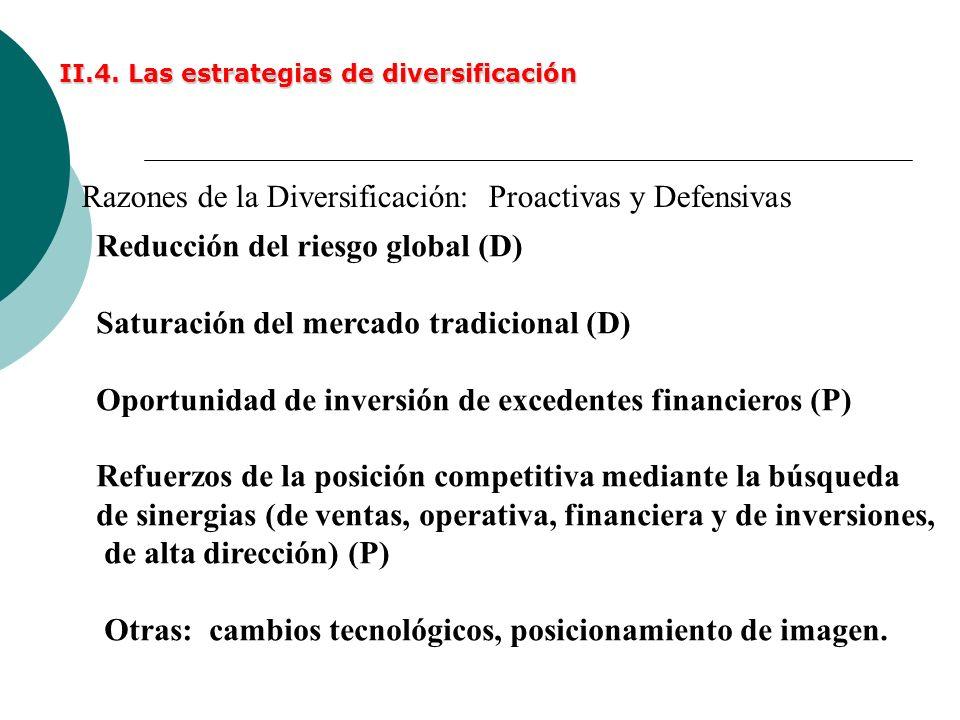 II.4. Las estrategias de diversificación