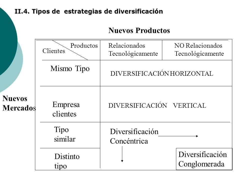 II.4. Tipos de estrategias de diversificación