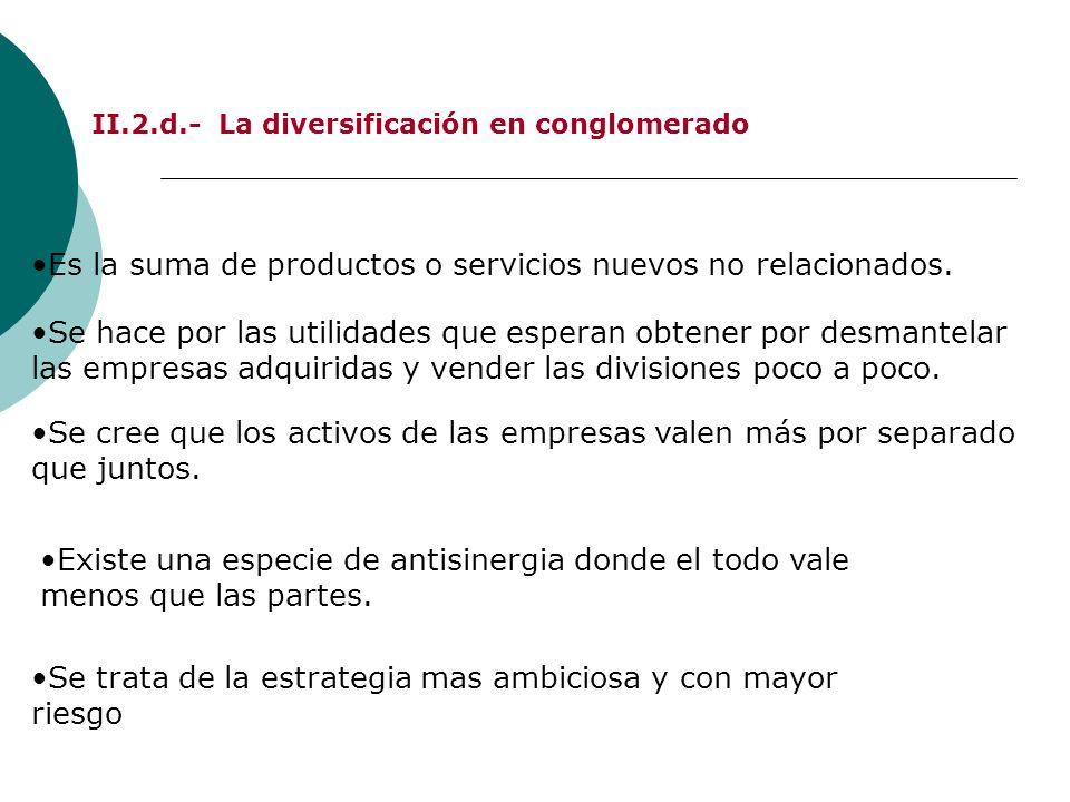 II.2.d.- La diversificación en conglomerado