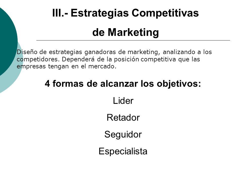 III.- Estrategias Competitivas 4 formas de alcanzar los objetivos: