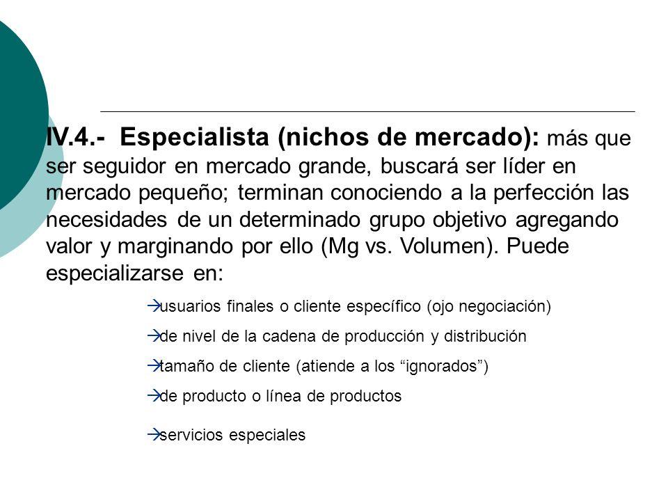 IV.4.- Especialista (nichos de mercado): más que ser seguidor en mercado grande, buscará ser líder en mercado pequeño; terminan conociendo a la perfección las necesidades de un determinado grupo objetivo agregando valor y marginando por ello (Mg vs. Volumen). Puede especializarse en: