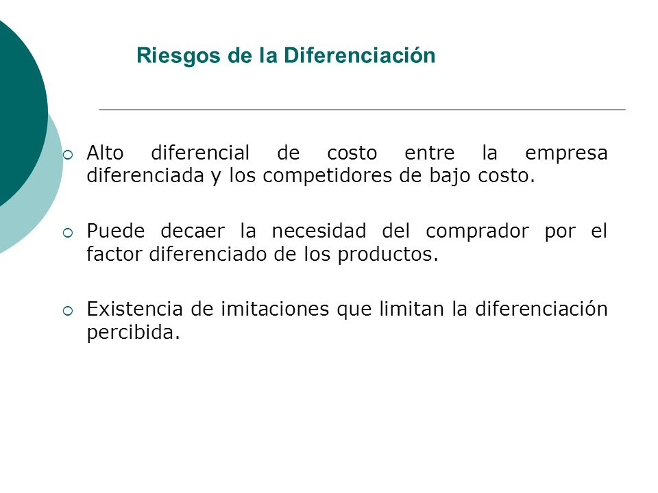 Riesgos de la Diferenciación